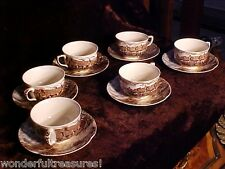 """6 Cups & Saucers Johnson Bros """"Old English Countryside"""" Dinnerware Brown Shades!"""