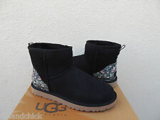 UGG BLACK FLORAL CLASSIC MINI LIBERTY SUEDE/ SHEEPSKIN BOOTS, US 11/ EUR 42 ~NIB