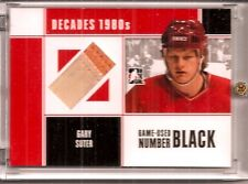 2011 ITG Decades '80's Gary Suter Game-Used Number Raised Seam 1 of 6 (H-0422)