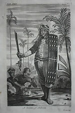 Original antique print, INDONESIA, SOLDIER, Nieuhof, Churchill's Voyages, 1744