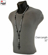 Men's Hip Hop 8mm WHITE Bead Black Rosary Pray Hand & Jesus Cross Necklace BKWH