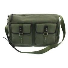 BODHI HANDBAGS ~ $219 VINTAGE LOOK GREEN ARMY CANVAS LEATHER TRIM BACKPACK LG