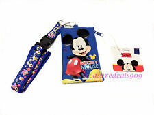 DISNEY MICKEY MOUSE LANYARD TICKET ID DISNEYLAND FASTPASS HOLDER BADGE NEW POUCH