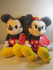"Disney Plush Mickey Minnie Mouse Valentines Day ""Sweet On You"" 12"" tall w TAGS"