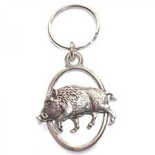 Silver Wild Boars Design English Pewter Keyring Handmade In England Key Ring New