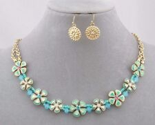 Green Blue Flower Crystal Rhinestone Necklace Set Gold Fashion Jewelry NEW