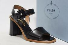PRADA OPEN-TOE BUCKLE BLACK LEATHER SANDAL SHOES 35/5 $750