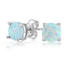 OE3:Fashion White Fire Opal 6MM Women Jewelry Silver Stud Earrings