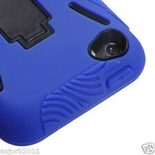 APPLE iPod Touch 4 S ARMOR HYBRID HARD CASE SKIN COVER w STAND BLUE BLACK