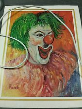 Clown Print on Textured Paper signed Michele