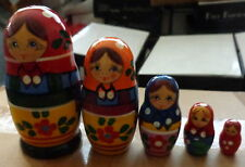 "old russian  design  Zagorsk     RUSSIAN NESTING DOLL  5 PCS  4.5""  #4"