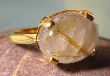 Gold plated brass everyday rutilated quartz stone ring UK R/US 8.75