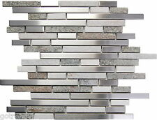 SAMPLE- Stainless Steel White Gray Stone Mosaic Tile Kitchen Backsplash Wall Spa