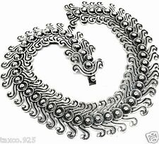 MOLINA TAXCO MEXICAN 925 STERLING SILVER OXIDIZED CONTOURED NECKLACE MEXICO