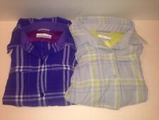 Omni Shade Sun Protection Lot of 2 Long Sleeve Plaid Shirts Womens Large