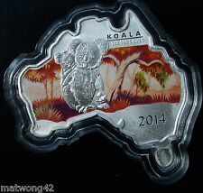 ** AUSTRALIA 1 oz. PURE 99.9 Silver Map Shaped Series - Koala Coin