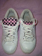 K-SWISS trainers white leather size 5 uk/ 38 tongue twister check  lining