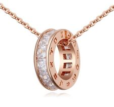 18K ROSE Gold GP Pure White Swarovski Crystals Chain Pendant Beautiful Necklace