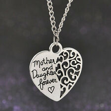 Mother and Daughter Forever Best Mom Gift Love Heart Pendant Necklace Chain New