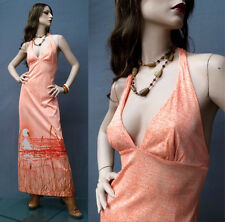 SALE Vintage 70s Hippie Boho Dress Orange Surf Sunset Halter Deep V Maxi L/XL