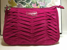 LANCOME Faux Suede Cosmetic Makeup Bag in HOT PINK Color New 9*6 1/2*3 inchs
