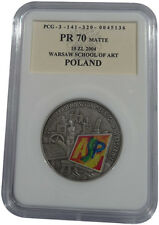 100 years Warsaw School of Art 10 zl Silver Poland 2004 coin PROOF Graded PR70