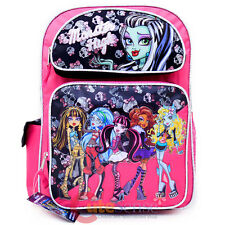 "Monster High School Backpack 16"" Large Book Bag - Frankie 6 Girls Pink Black"