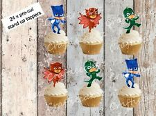 Pj Masks 24 Pre Cut Stand Up Cup cake Wafer Paper Toppers