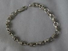 "STERLING SILVER OVAL LINK CHAIN 7.5"" BRACELET W/ DIMPLED SLIDE RING ACCENTS"