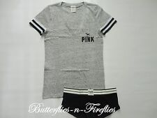 NEW Victoria's Secret PINK Pajamas 2pc Set Perfect Tee Boy Shorts Panty Gray M