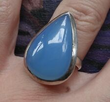 vintage 925 STERLING SILVER sky blue glass raindrop ring size 5 -C435