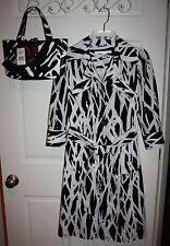 Womens Diane Von Furstenberg Black & White Dress Size 2 + DVF Handbag