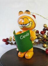 United Feature Syndicate UFS 1978 Wooden Garfield Santa as Caroler Ornament