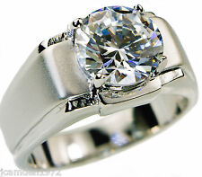 5.0 carat cz Solitaire mens ring Platinum overlay size 11