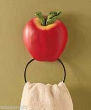 3D Country Red Apple Decorative Kitchen Wall Towel Ring Holder Bath Decor