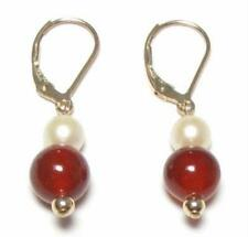Genuine White & Pearl Red Jade 14K Gold Filled Lever Back Earrings