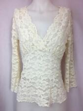 Banana Republic Off White Lace V neck LS Empire Waist Knit Top Women's Size M