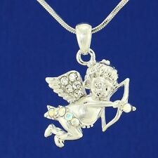 W Swarovski Crystal Angel Cupid Guardian Bow Arrow Pendant Necklace