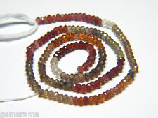 """7"""" Natural Tundra Sapphires Faceted Rondelle Gem Beads AAA Red Green Brown 3.5mm"""