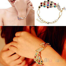 Women's Vintage Colorful Rhinestone Peacock Bird Chain Bangle Bracelet Jewelry