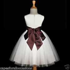 IVORY FLOWER GIRL DRESS WEDDING TULLE PAGEANT CHRISTMAS TULLE 12-18M 2 4 6 8 10