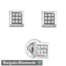 diamond square stud screwback earrings men ladies 925 unisex