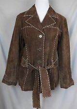 Outbrook Woman Suede Leather Jacket Medium 8 10 Dark Brown