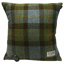Harris Tweed Blue Tartan Square Cushion Made in Scotland Brand New With Tags