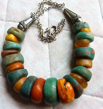 Antique Moroccan amber and ancient amazonite beads necklace, 121 g