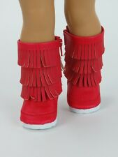 """Doll Clothes AG 18"""" Boots Fringe Leather Red Made To Fit American Girl Dolls"""