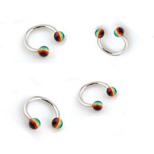 "2 PIECES Eyebrow Tragus Ear Horseshoe 16g 5/16"" RASTA 3MM Ball Red Green Black"