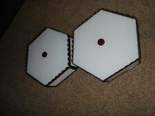 2 Metal and glass Vintage Ceiling  Light Fixtures 70's Octogon retro Midcentury