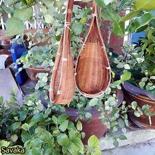 4 Basket Hanging Bamboo Planter Pot Orchids Outdoor Balcony Decor Woven Garden