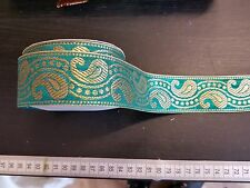 1m 38mm teal gold  jacquard embroidered ribbon lace applique trimming decor